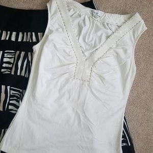Cache Tops - CACHE White Sequin Sleeveless Top